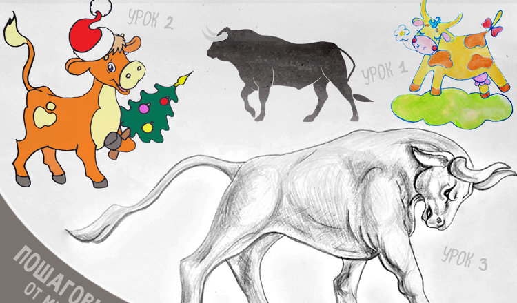 Учимся рисовать быка на Новый Год поэтапно карандашом