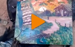 Видео «Потрясающий пейзаж, нарисованный пальцами»