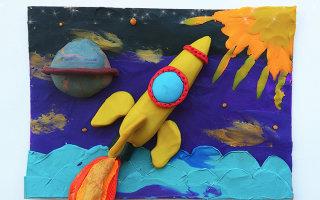 Как сделать аппликацию ко дню Космонавтики для детей. Пошаговая инструкция с фото