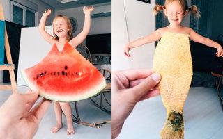 Мама фотографирует дочку в забавных «платьях» (15 фото)