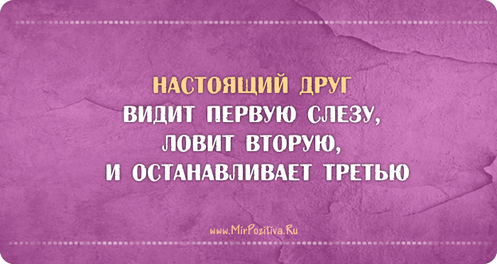 Настоящий друг видит первую слезу, ловит вторую, и останавливает третью