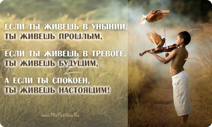 Если ты живешь в унынии, ты живешь прошлым, если ты живешь в тревоге, ты живешь будущим, а если ты спокоен, ты живешь настоящим