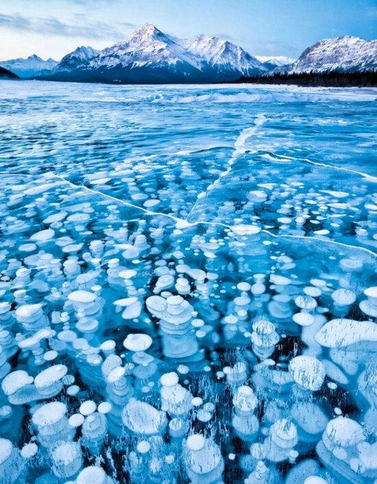 замерзшие пузырьки на озере под ногами