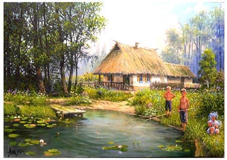 мальчик на пруду, болото
