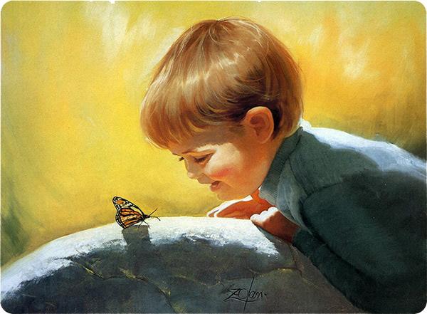 Радости жизни, мальчик и бабочка