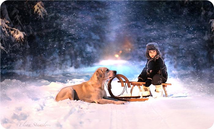 зима, санки, ребенок, снег