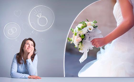 девушка мечтает о свадьбе
