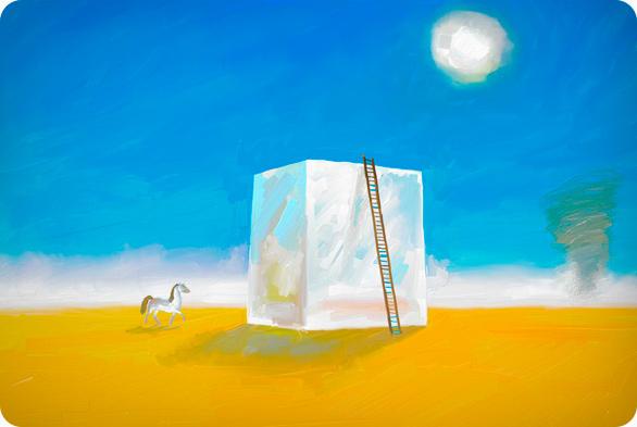 куб в пустыне