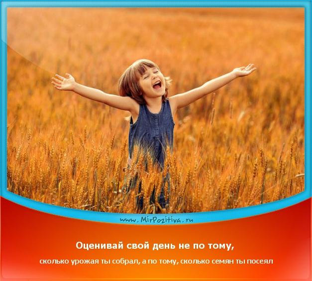 позитивчик дня: Оценивай свой день не по тому, сколько урожая ты собрал, а по тому, сколько семян ты посеял