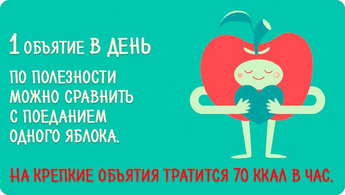 Одно объятие в день по полезности можно сравнить с поеданием одного яблока. На крепкие объятия тратится 70 ккал в час