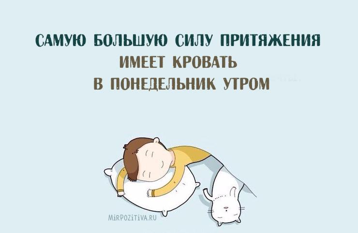 Самую большую силу притяжения имеет кровать в понедельник утром