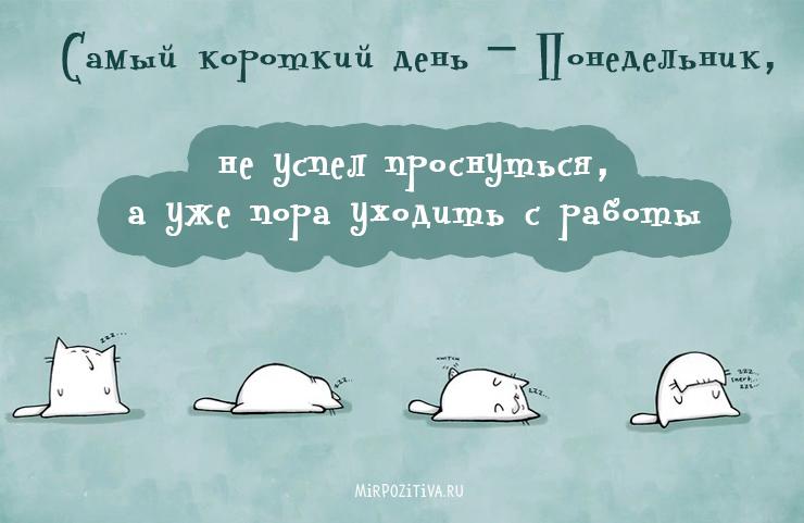 Самый короткий день – понедельник, не успел проснуться, а уже пора уходить с работы.