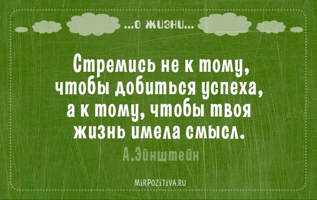 Стремись не к тому, чтобы добиться успеха, а к тому, чтобы твоя жизнь имела смысл. А.Эйнштейн