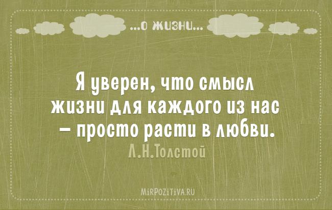 Я уверен, что смысл жизни для каждого из нас — просто расти в любви. Л.Н.Толстой