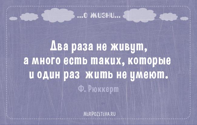 Два раза не живут, а много есть таких, которые и один раз жить не умеют. Ф. Рюккерт