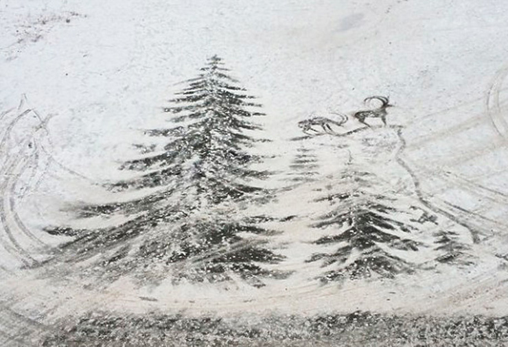 рисунок елки на снегу