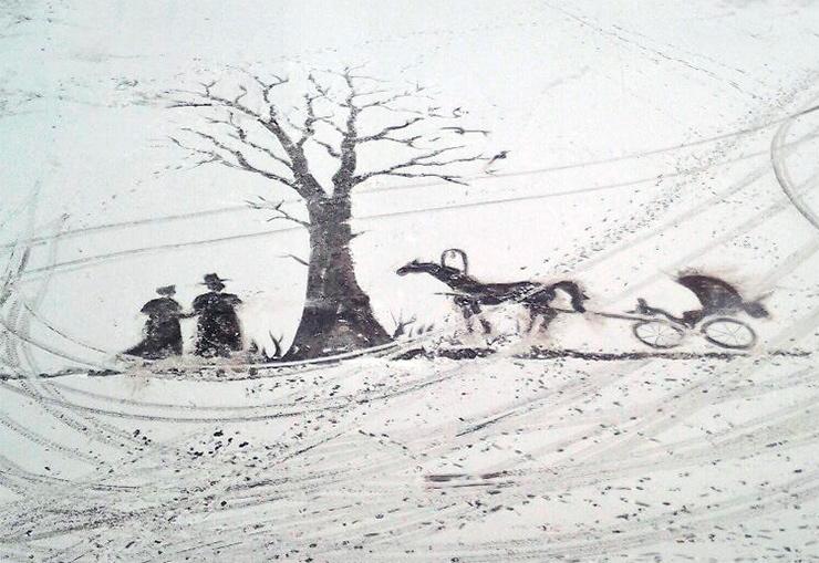 рисунок на снегу