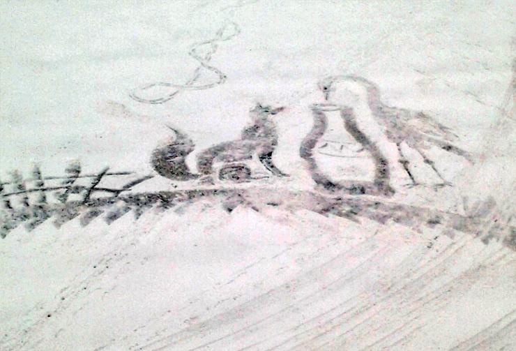 лисица и журавль рисунок на снегу