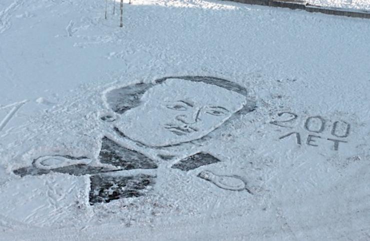 портрет Лермонтова на снегу
