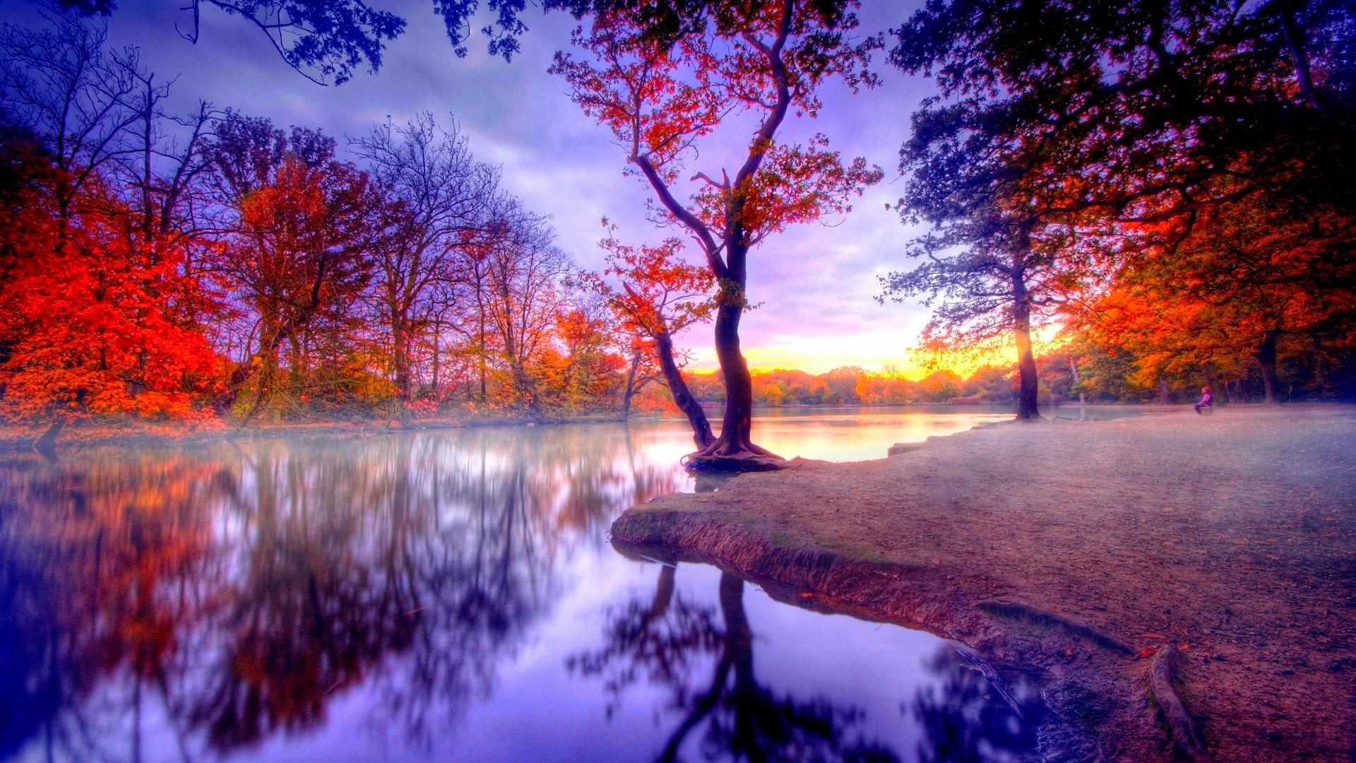 осенний закат, вода
