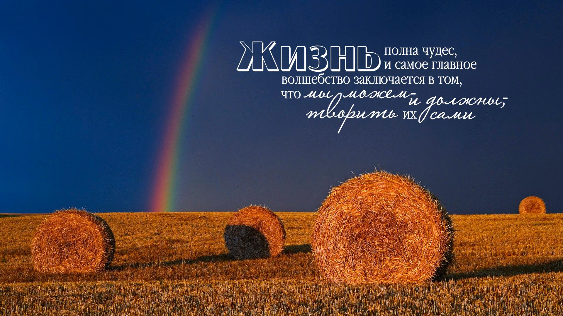 стог сена и радуга. жизнь полна чудес