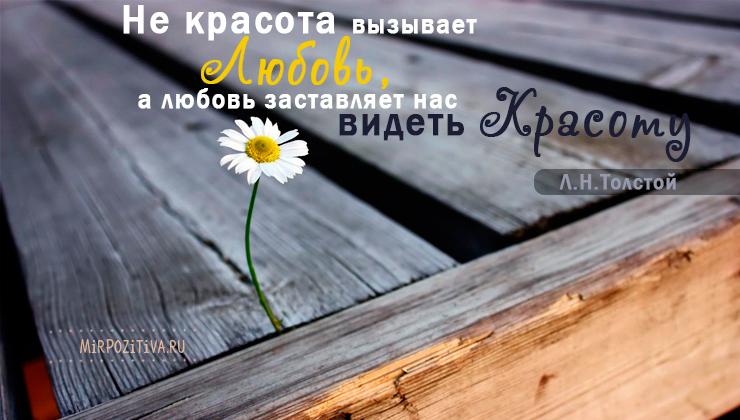 Не красота вызывает любовь, а любовь заставляет нас видеть красоту. Лев Николаевич Толстой