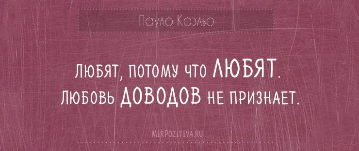 Любят, потому что любят. Любовь доводов не признает.