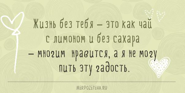 Жизнь без тебя – это как чай с лимоном и без сахара – многим нравится, а я не могу пить эту гадость.
