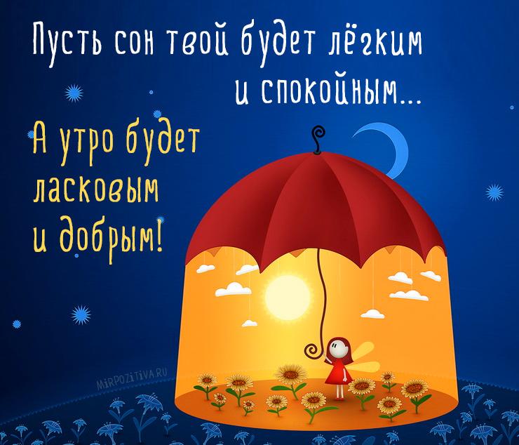 Пусть сон твой будет лёгким и спокойным... А утро будет ласковым и добрым!