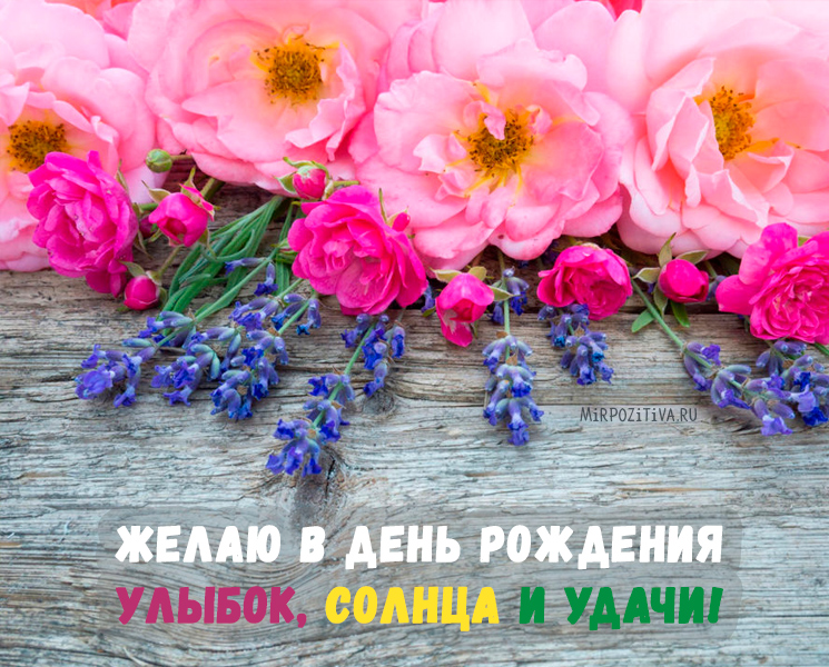 Желаю в день рождения Улыбок, солнца и удачи!