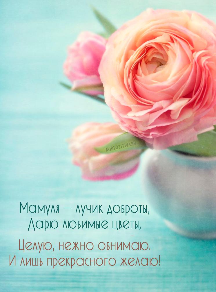 Мамуля — лучик доброты, Дарю любимые цветы, Целую, нежно обнимаю. И лишь прекрасного желаю!