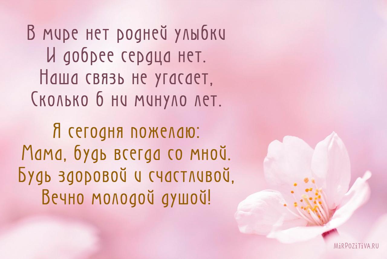 В мире нет родней улыбки И добрее сердца нет. Наша связь не угасает, Сколько б ни минуло лет