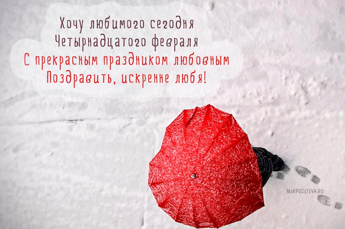 Хочу любимого сегодня Четырнадцатого февраля С прекрасным праздником любовным Поздравить, искренне любя.