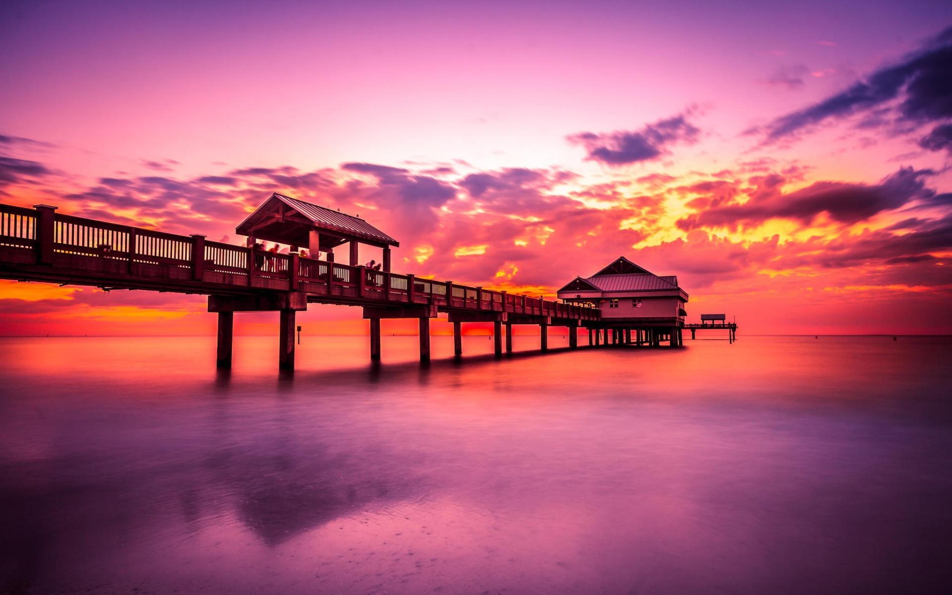 пирс океан пейзаж горизонт рассвет