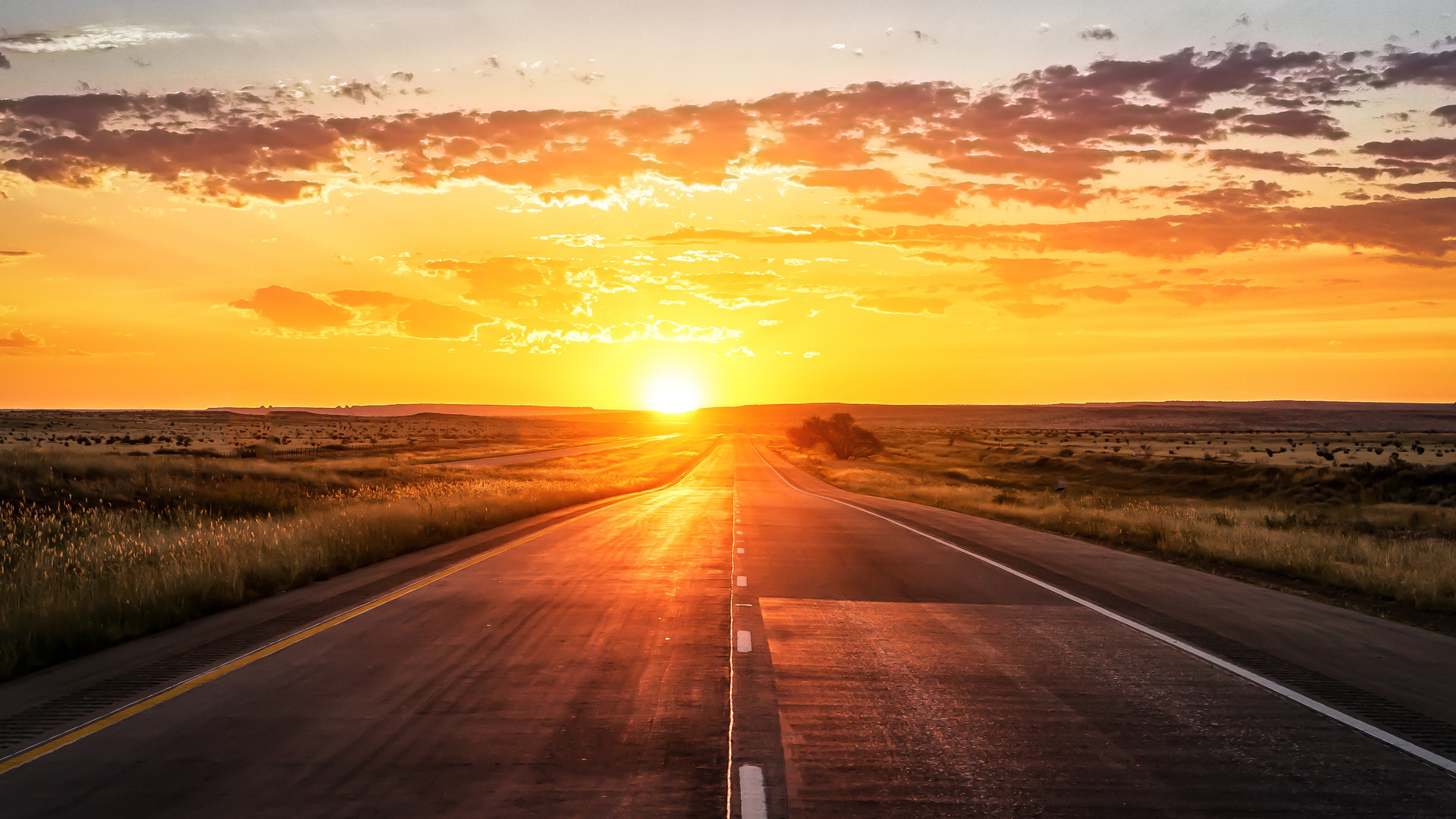 закат дорога