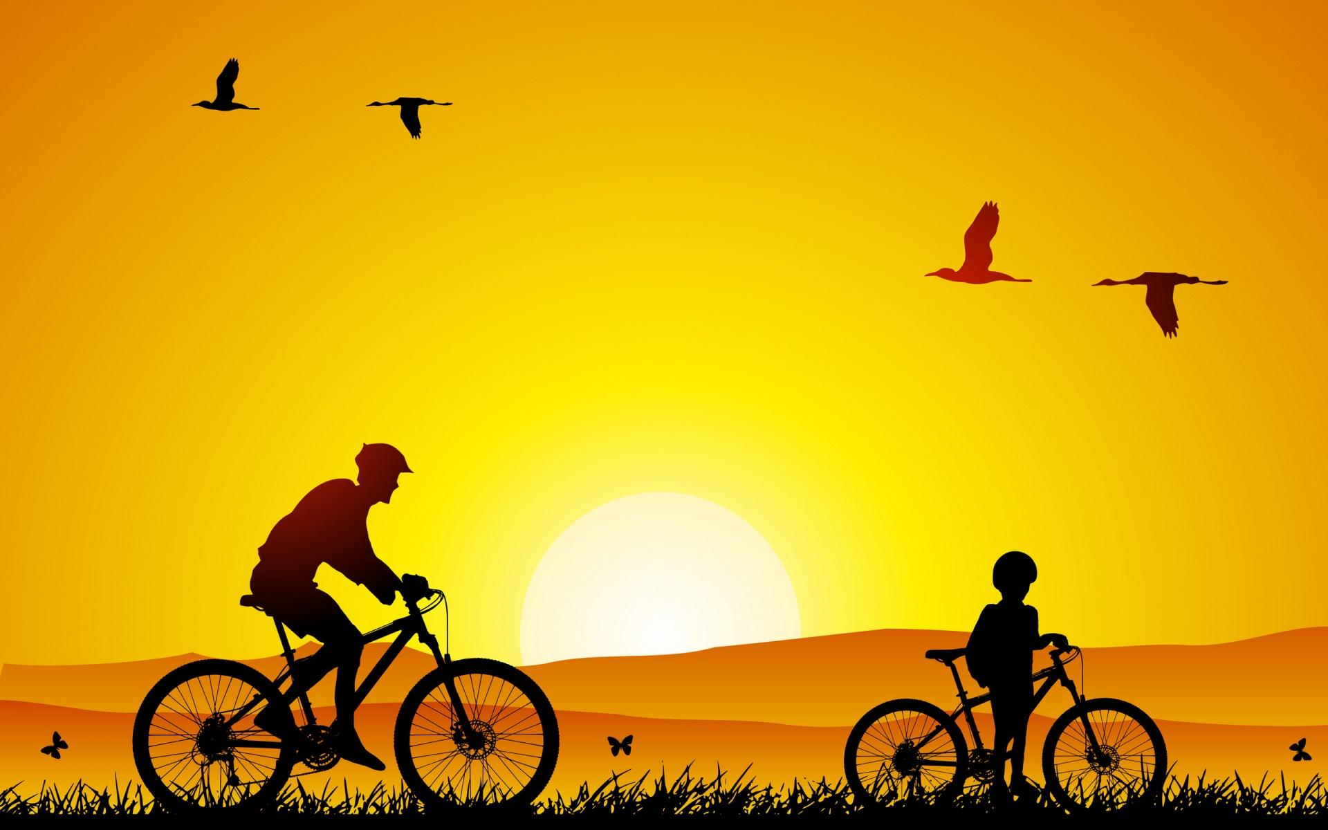 закат велосипеды