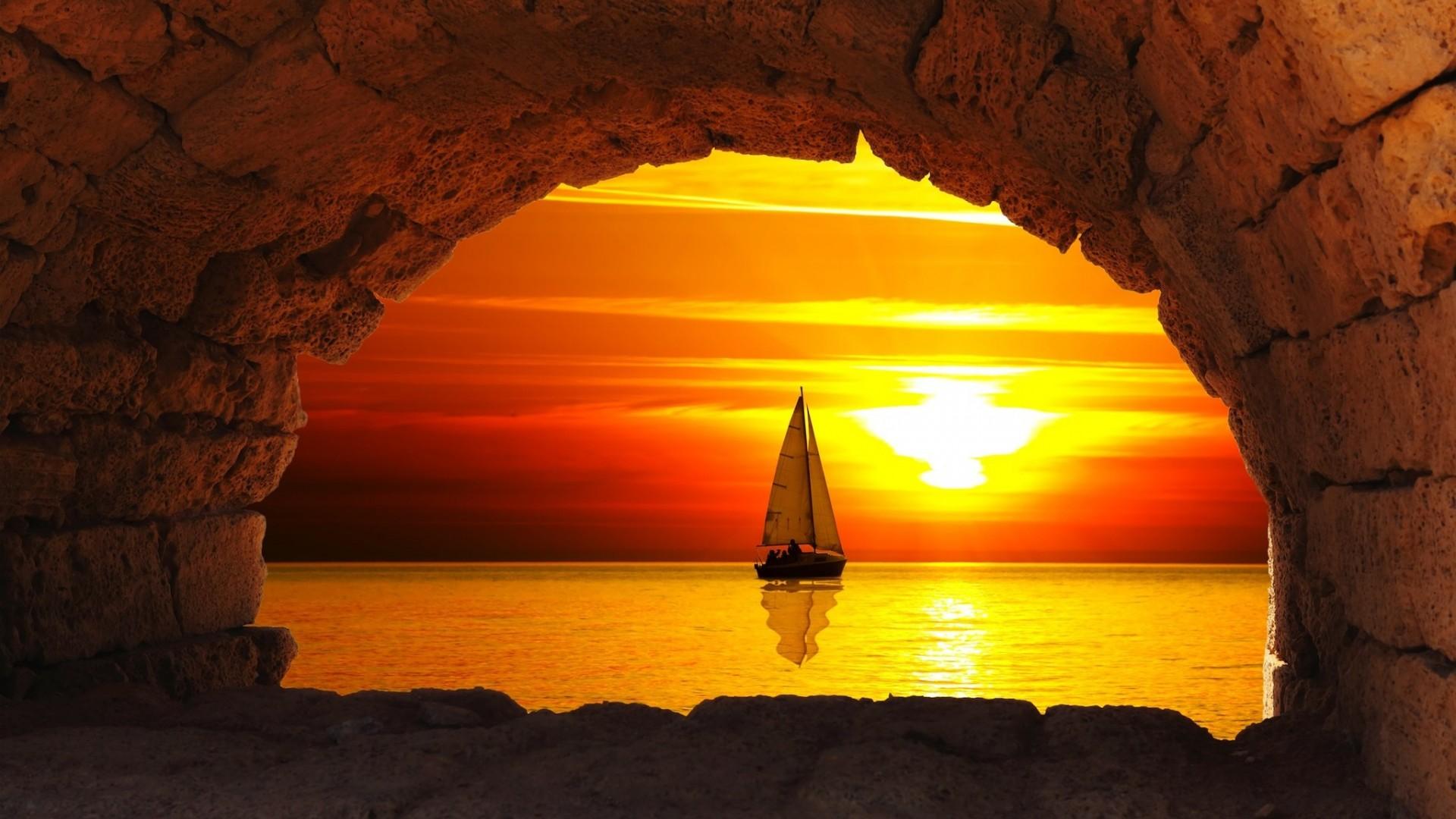 закат лодка