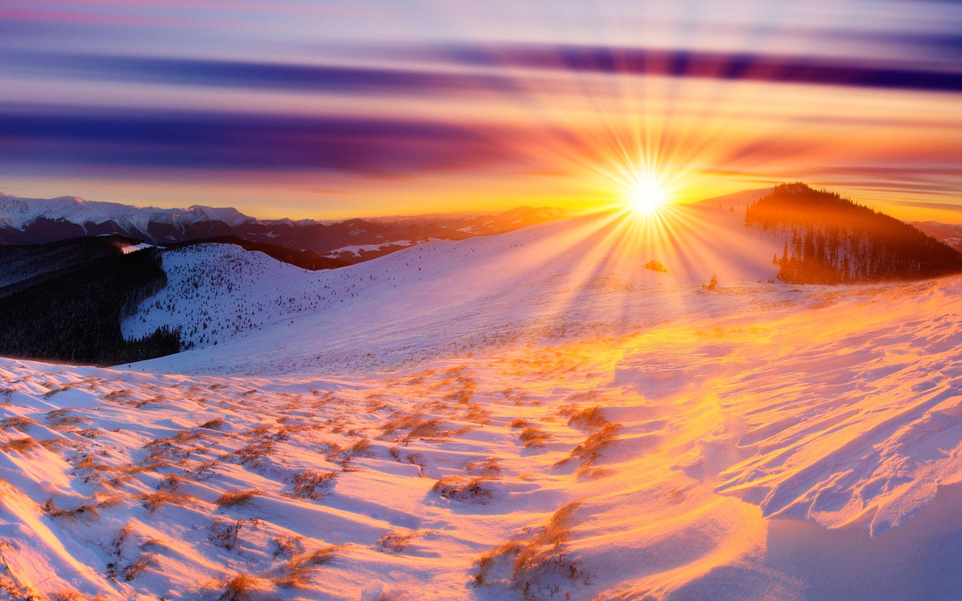 солнце зима