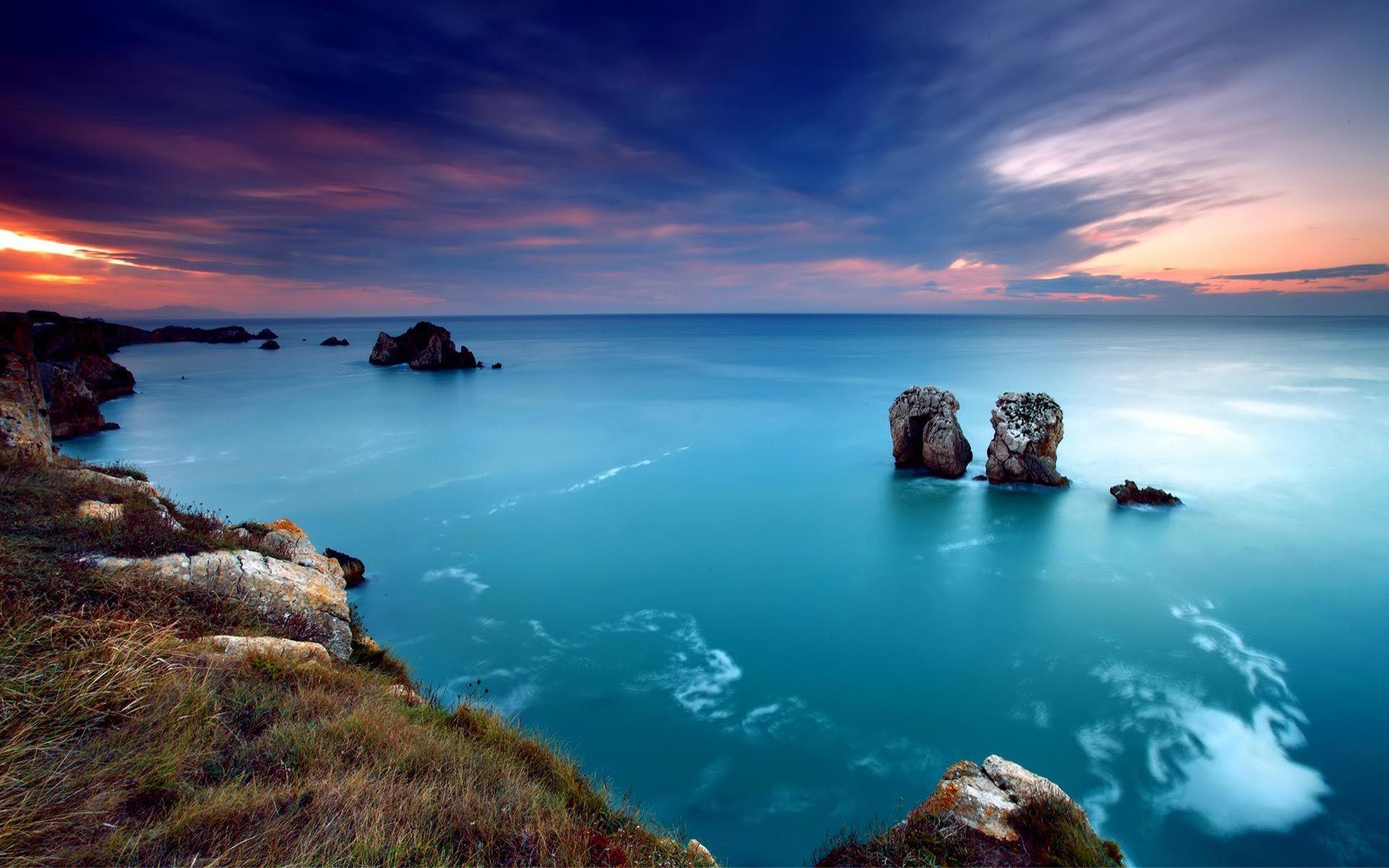 берег закат