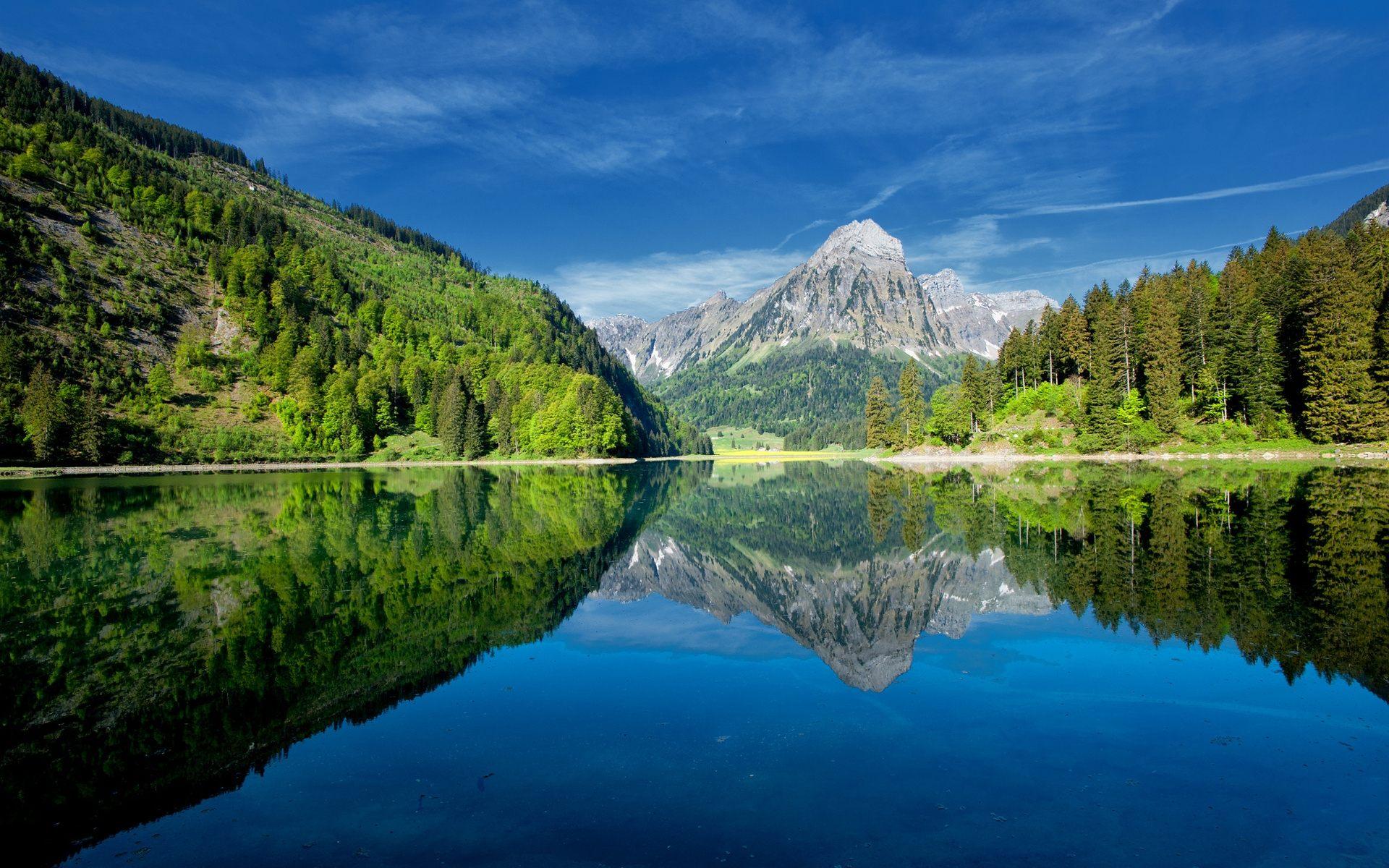 озеро горы небо