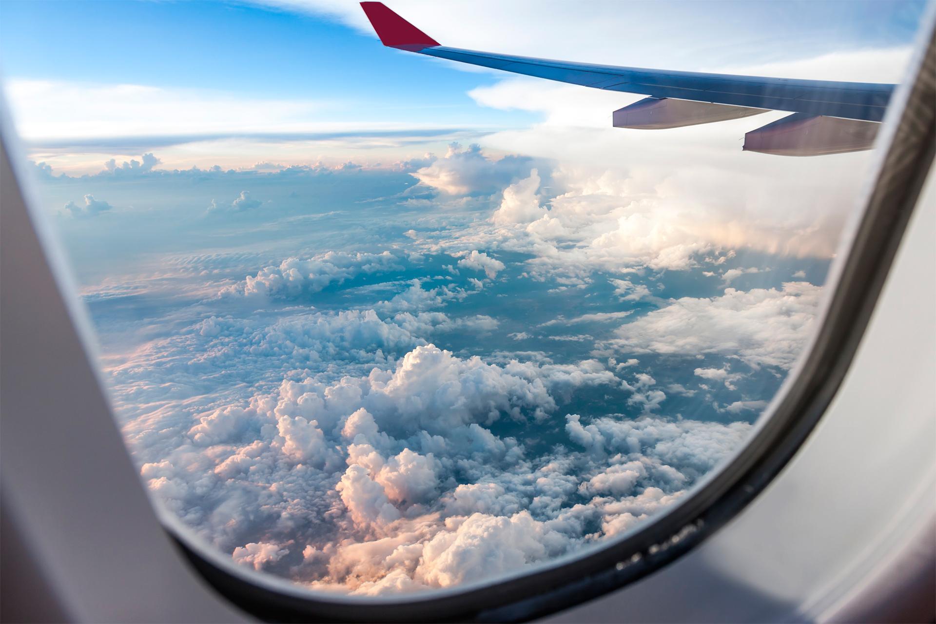 вид из самолета окно