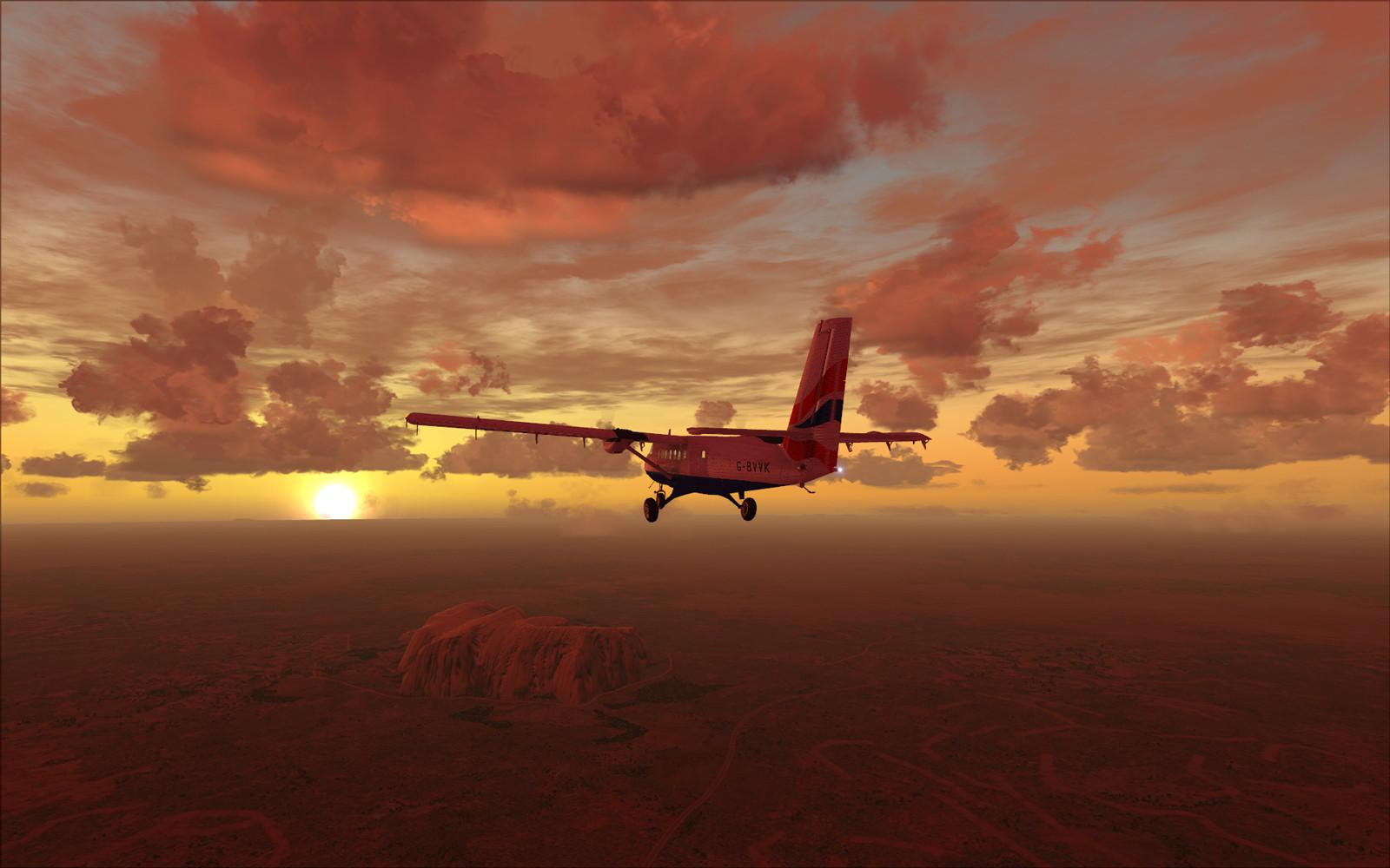 самолет красное небо
