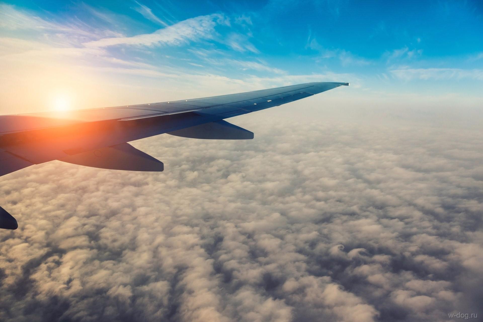 вид из самолета крыло