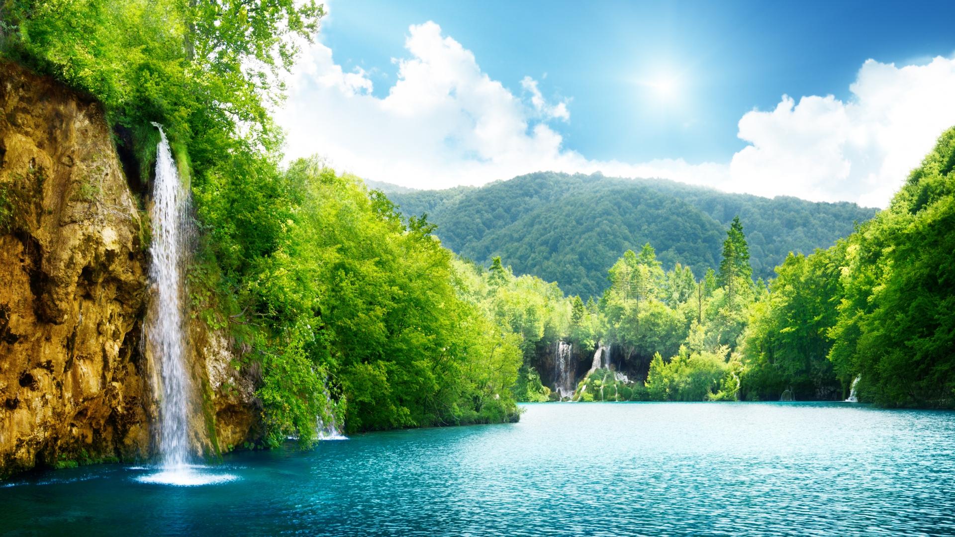 природа водопад лето озеро