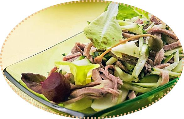 Салат с языком и печеной свеклой