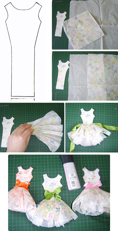 Сделать бумажное платье для открытки