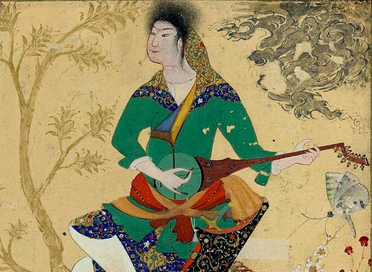 поэт держит в руках ребаб