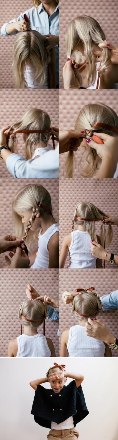 косы с лентой для девочки