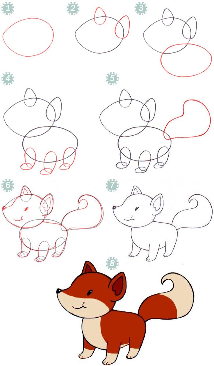 пошагово рисовать лисичку