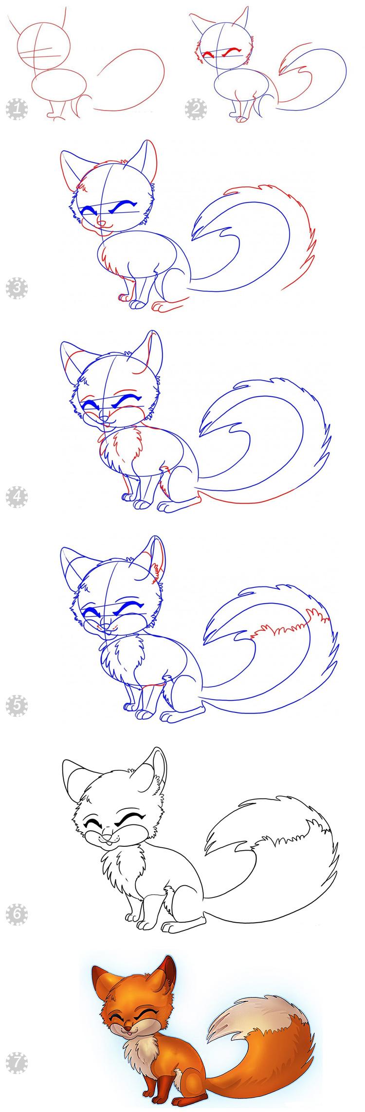 шаги рисования лисы